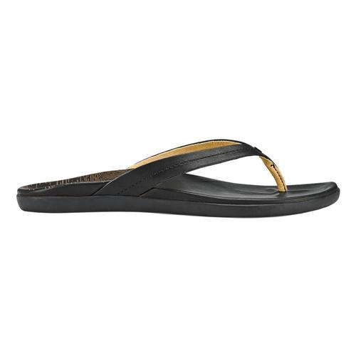 OluKai Women's Honoli'i Leather Beach Sandals Blk.Blk_4040
