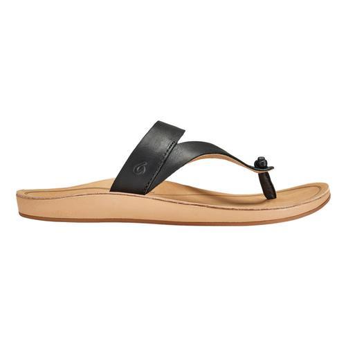 OluKai Women's Kaekae Ko'o Leather Beach Sandals Blk.Gsnd_40gs