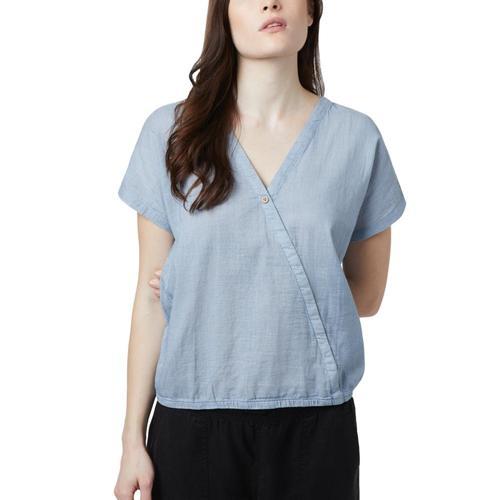 tentree Women's Isa Woven Shirt Riviera_740