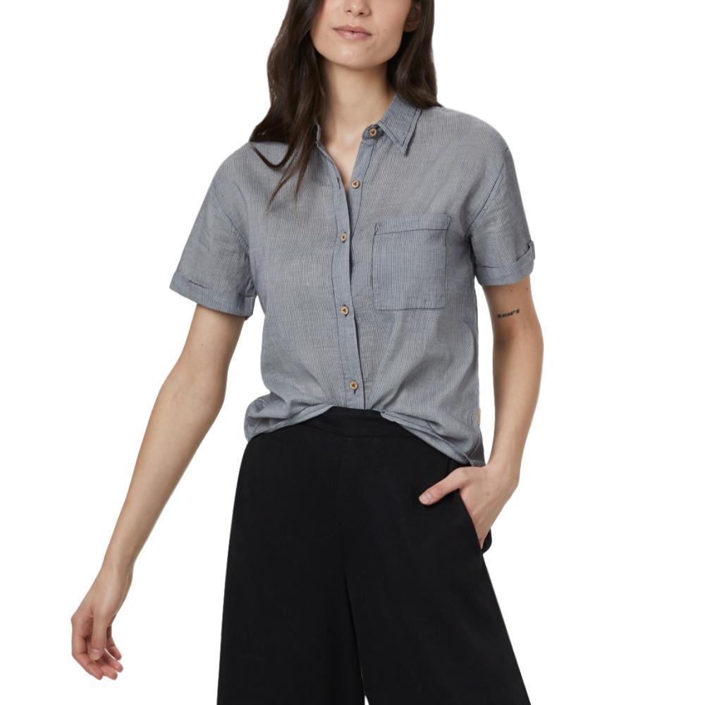 tentree Women's Isa Woven Button Up Shirt DARKOCEAN_744