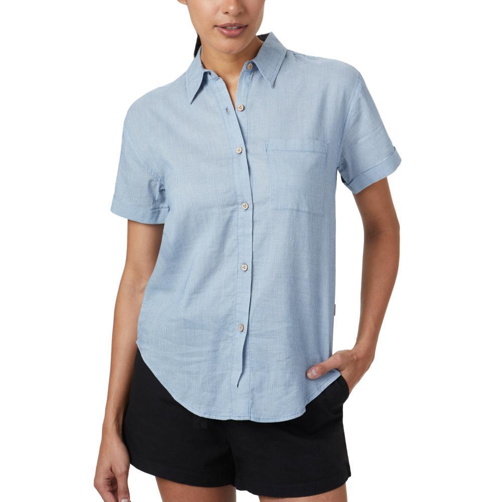 tentree Women's Isa Woven Button Up Shirt RIVIERA_740