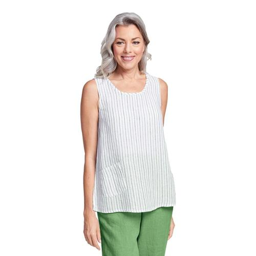 FLAX Women's Pocket Tank Top Ivystripe