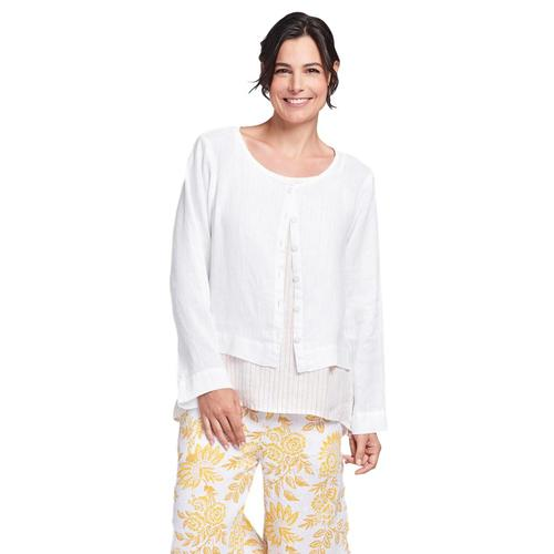 FLAX Women's Day Cardi Top White