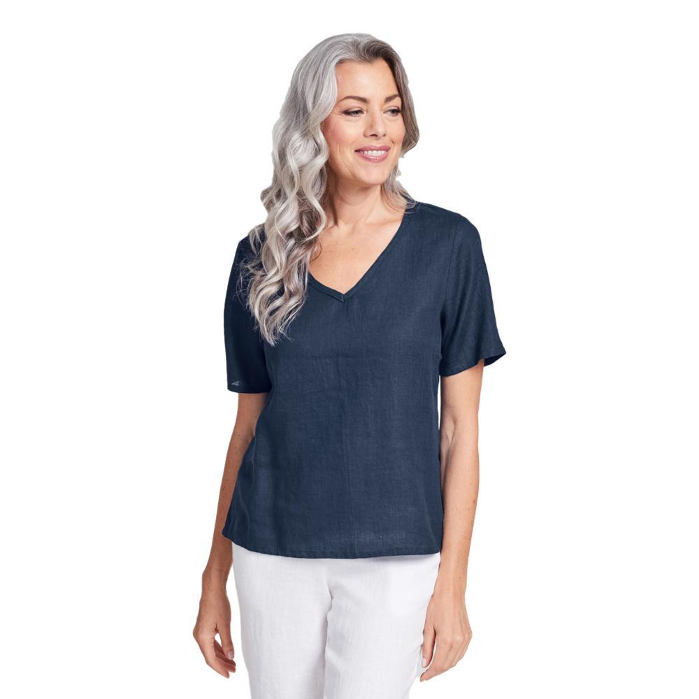 FLAX Women's Generous Crop V Top BLUENIGHT
