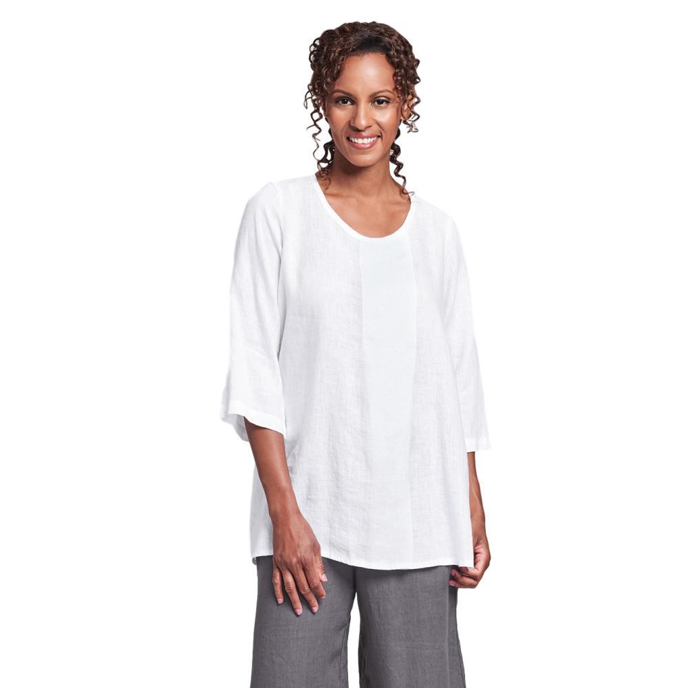 FLAX Women's Generous Tucked Tunic Top WHITE