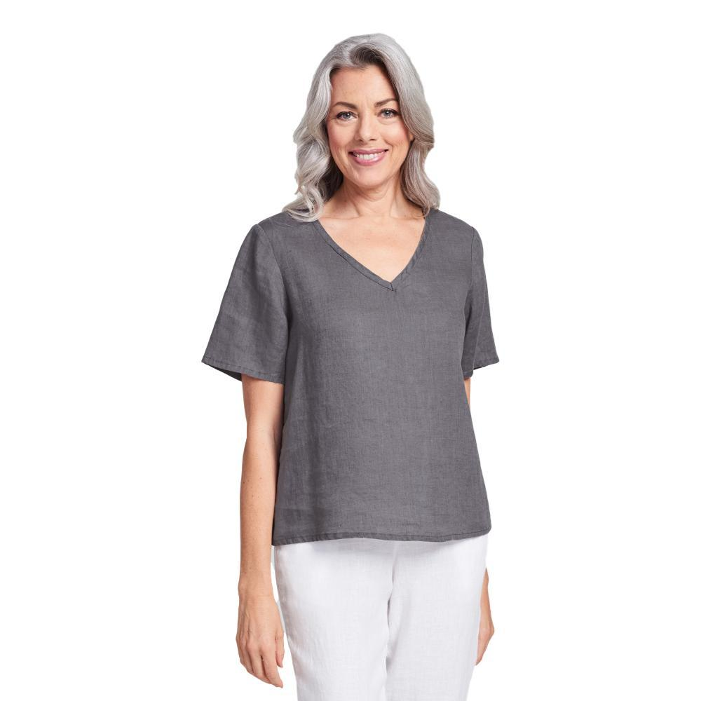 FLAX Women's Crop V Top PEWTER