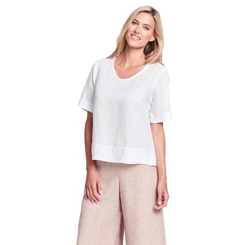 FLAX Women's Linear Crop Shirt Cream