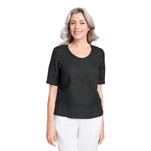 FLAX Women's Generous Linear Crop Shirt Black