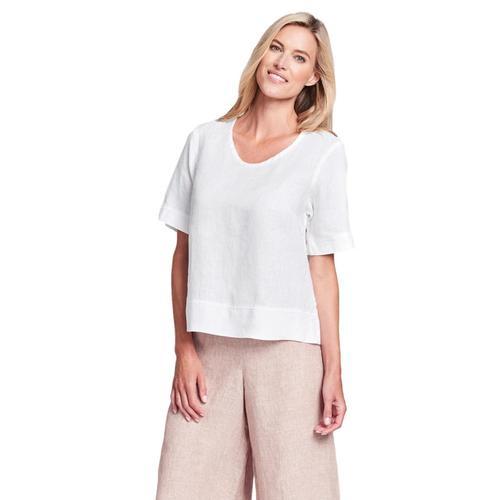 FLAX Women's Generous Linear Crop Shirt Cream