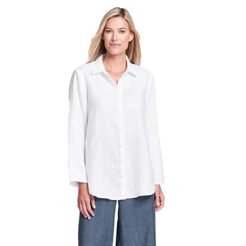 FLAX Women's Generous Crossroads Blouse White