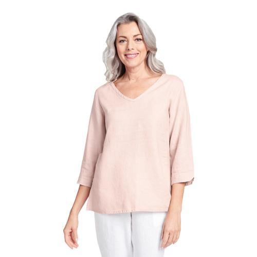 FLAX Women's V Pullover Shirt Blush