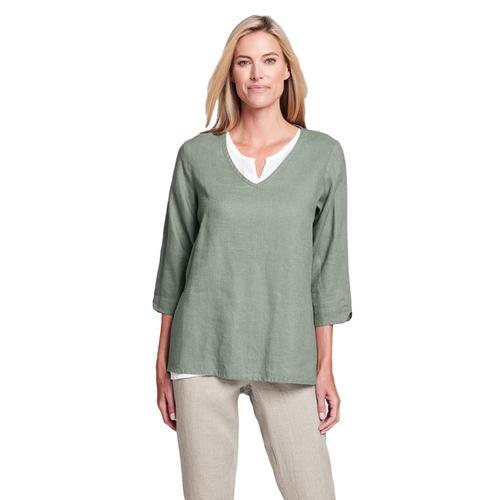 FLAX Women's V Pullover Shirt Greentea