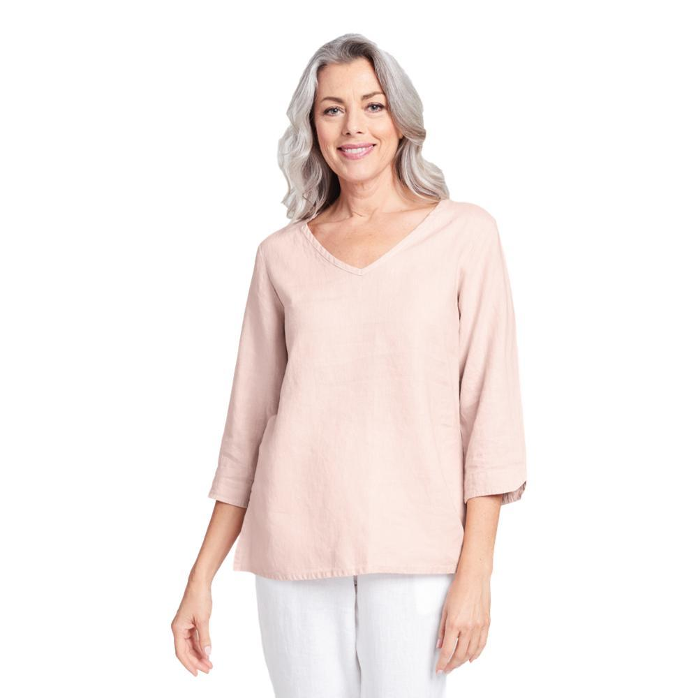 FLAX Women's Generous V Pullover Shirt BLUSH