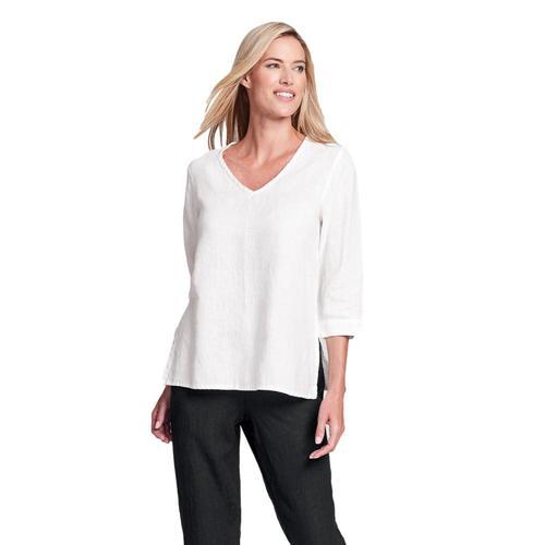 FLAX Women's Generous V Pullover Shirt Cream