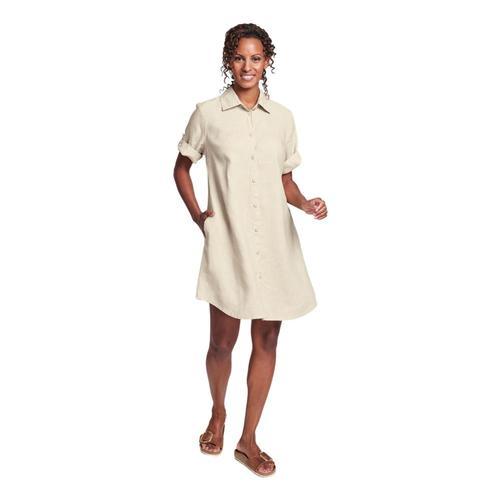 FLAX Women's Work Shirt Dress Biscuit