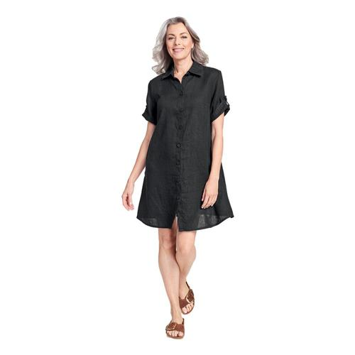 FLAX Women's Work Shirt Dress Black