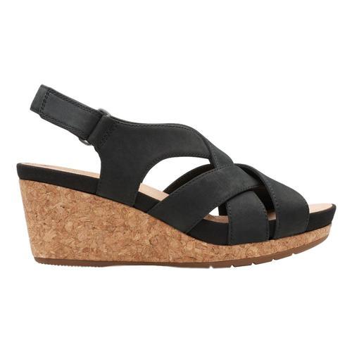 Clarks Women's Un Capri Step Wedge Sandals Blknbk
