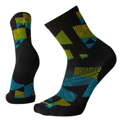 Smartwool Men's PhD Run Light Elite Print Crew Socks Black_001