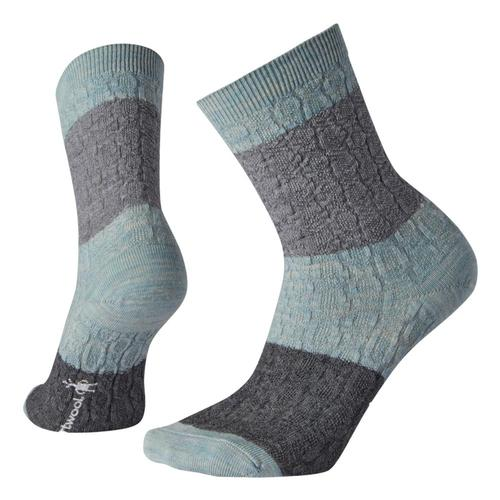 Smartwool Women's Color Block Cable Crew Socks Fgreen_b72