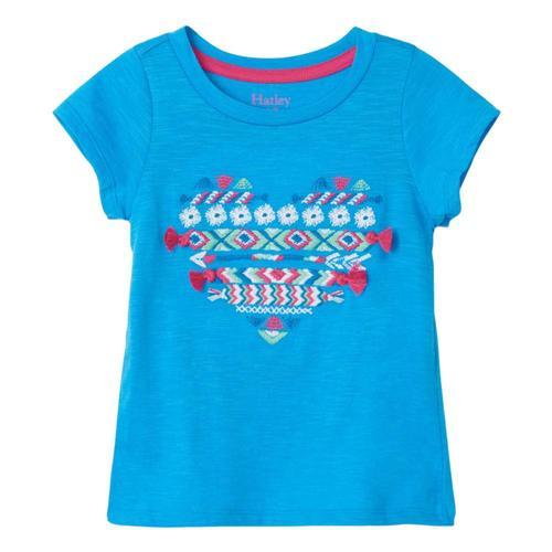 Hatley Girls Crafty Heart Tie Back Tee Blueastr