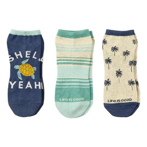 Life is Good Men's Turtle Palm Tree Low Cut Socks 3-Pack Beach