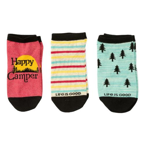 Life is Good Women's Happy Camper Low Cut Socks 3-Pack Outdoor