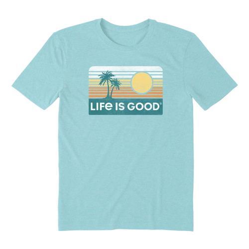 Life is Good Men's Retro Palmsun Cool Tee Beachblue