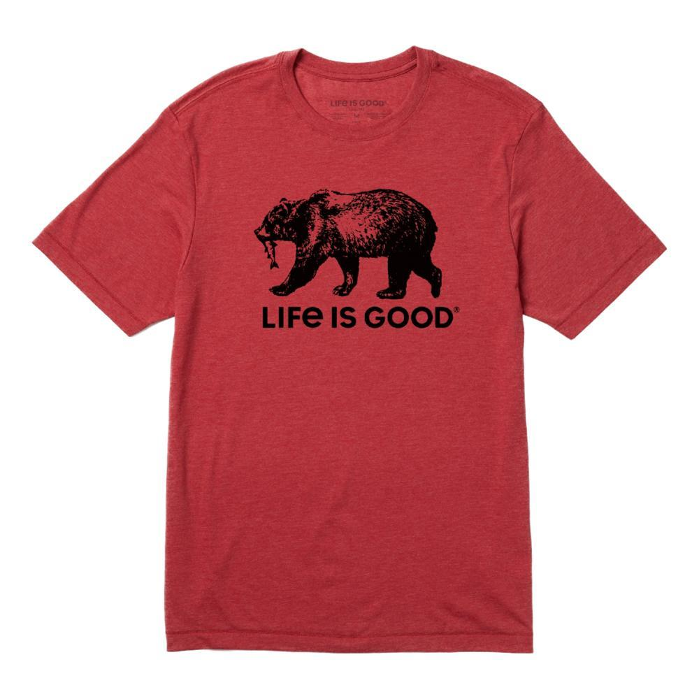 Life is Good Men's Fishing Bear Cool Tee FADEDRED