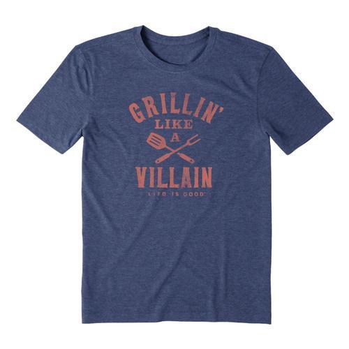 Life is Good Men's Grillin' Like A Villain Cool Tee Darkstblue