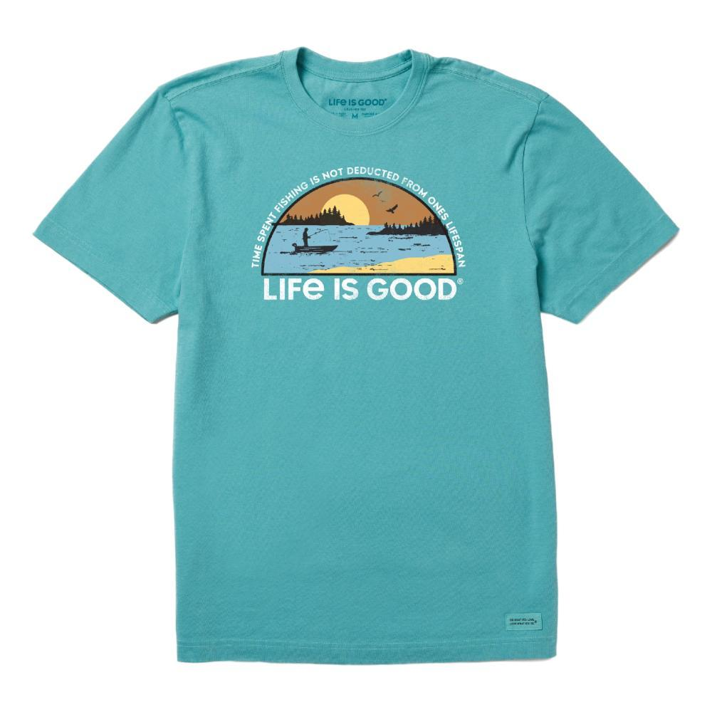 Life is Good Men's Time Spent Fishing Landscape Crusher Tee HARBORBLUE