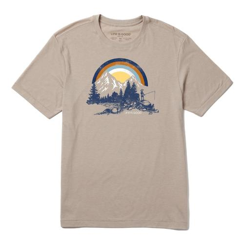 Life is Good Men's Retro Fishing Landscape Cool Tee Mocha