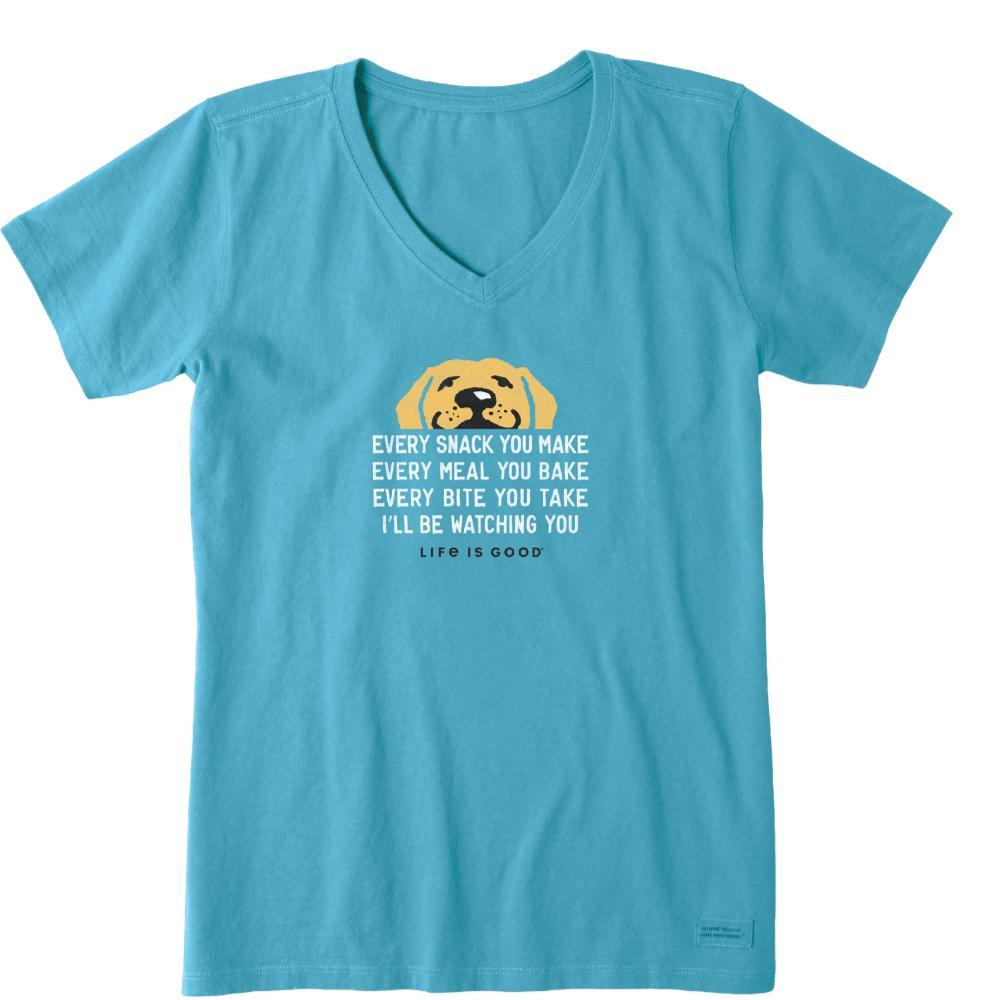 Life is Good Women's I'll Be Watching You Crusher Vee Tee COASTABLUE
