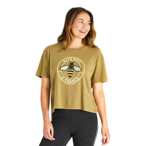 Life is Good Women's Give Bees a Chance Coin Boxy Crusher Tee Fatiggreen