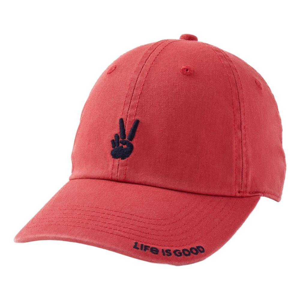Life is Good Positive Lifestyle Peace Sign Chill Cap FADEDRED