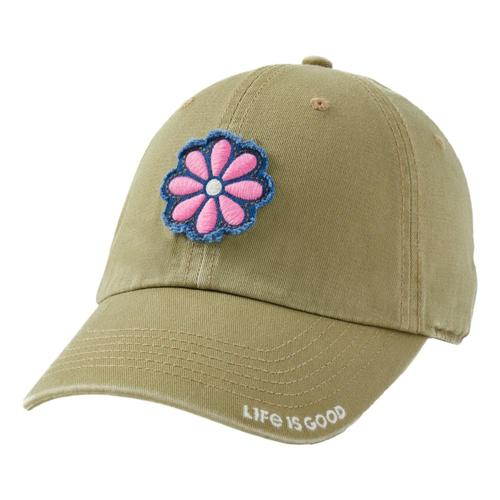 Life is Good Daisy Tattered Chill Cap Fatiggreen