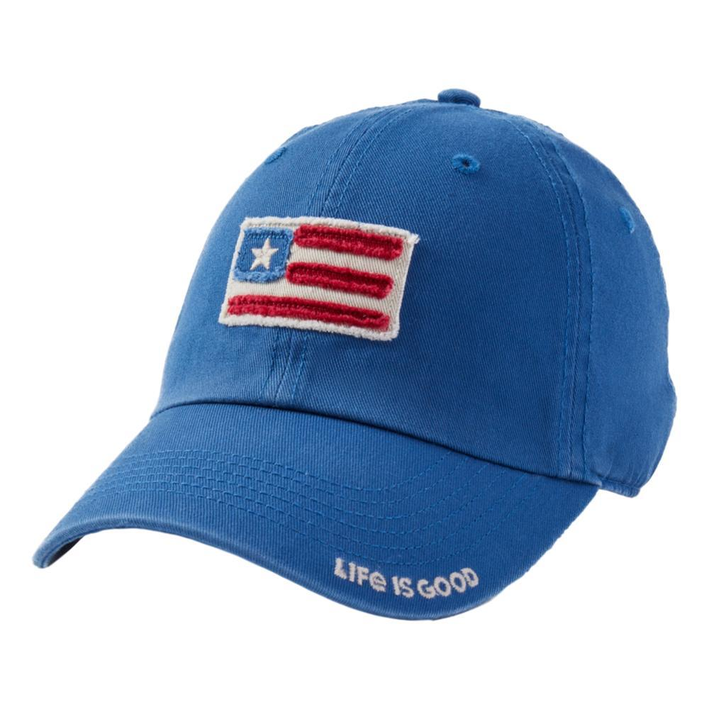 Life is Good American Flag Tattered Chill Cap VINTAGBLUE