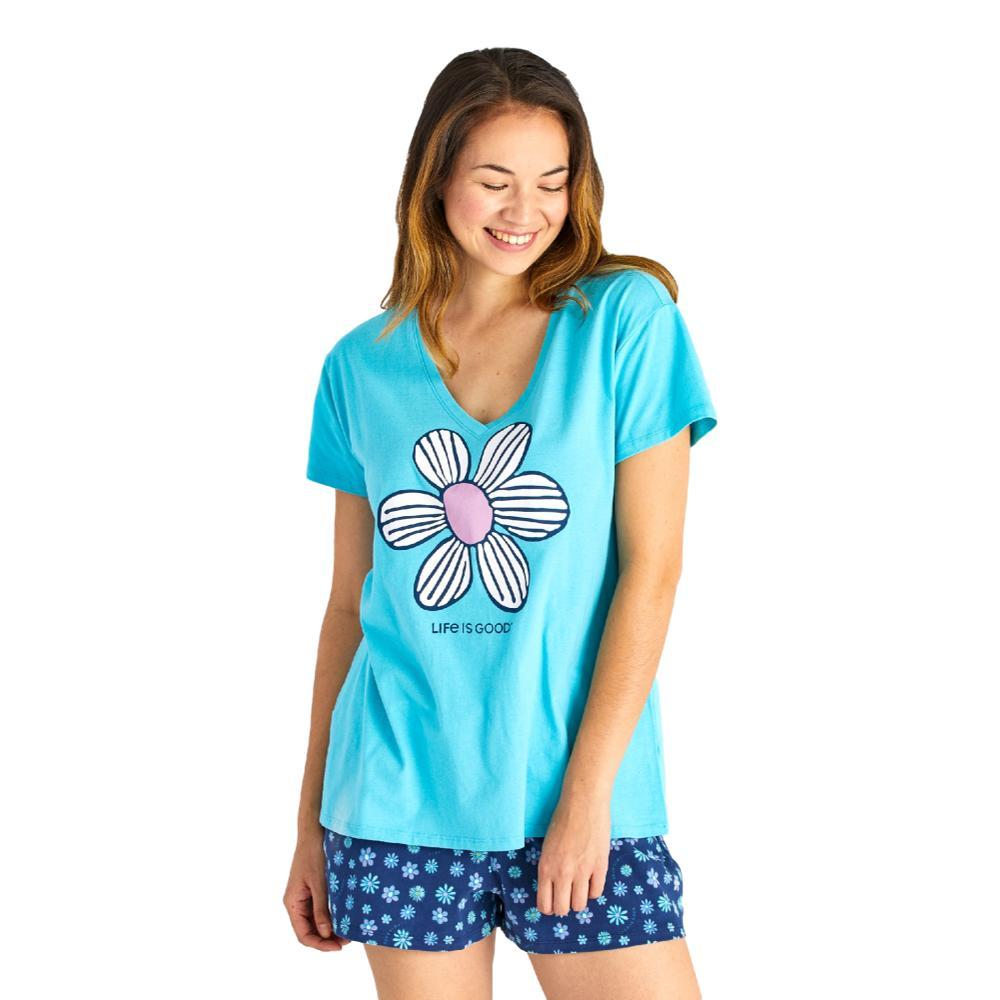 Life is Good Women's Floral Element Snuggle Up Relaxed Sleep Vee Tee COASTALBLUE