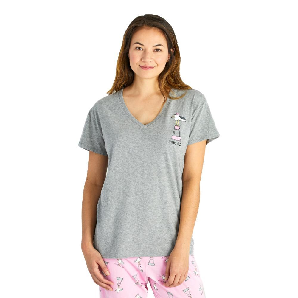 Life is Good Women's Time Out Gull Snuggle Up Relaxed Sleep Vee Tee HTHRGRAY