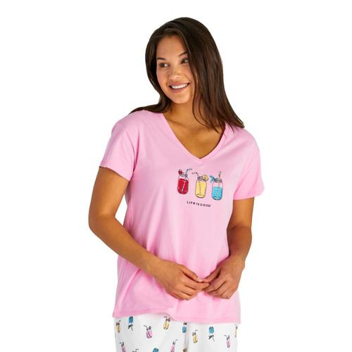 Life is Good Women's Refreshing Jars Snuggle Up Relaxed Sleep Vee Tee Pinkjars