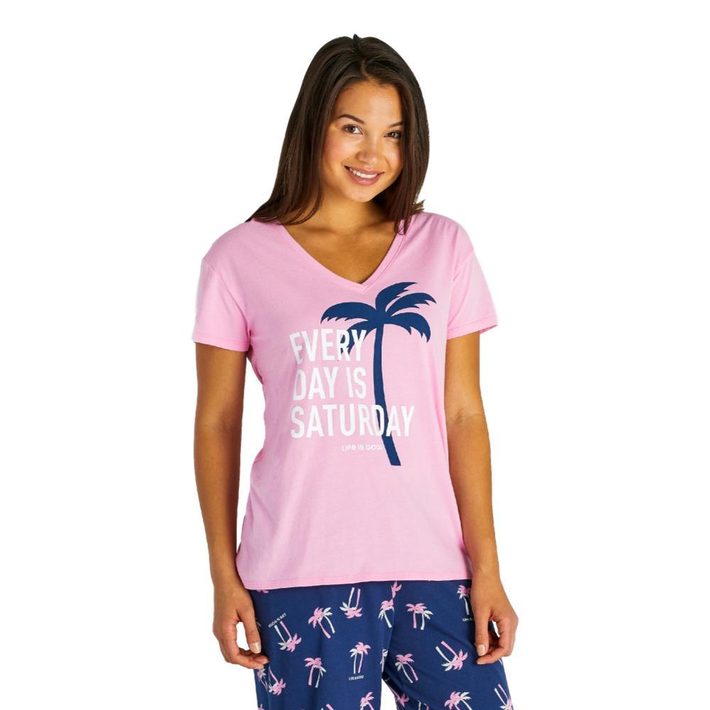 Life is Good Women's Every Day Is Saturday Snuggle Up Relaxed Sleep Vee Tee PINKPALM