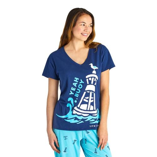 Life is Good Women's Yeah Buoy Snuggle Up Relaxed Sleep Vee Tee Bluebuoy