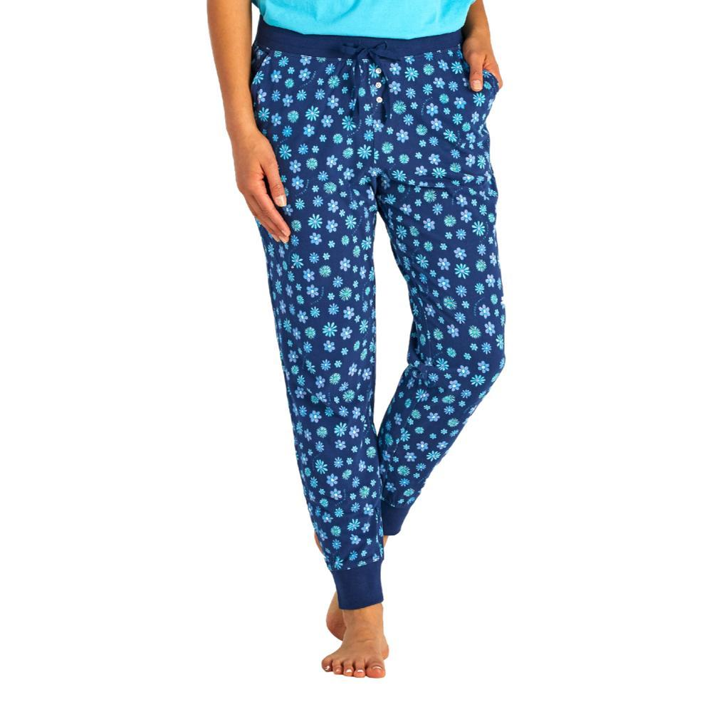 Life is Good Women's Floral Element Print Snuggle Up Sleep Joggers BLUEDAISIES