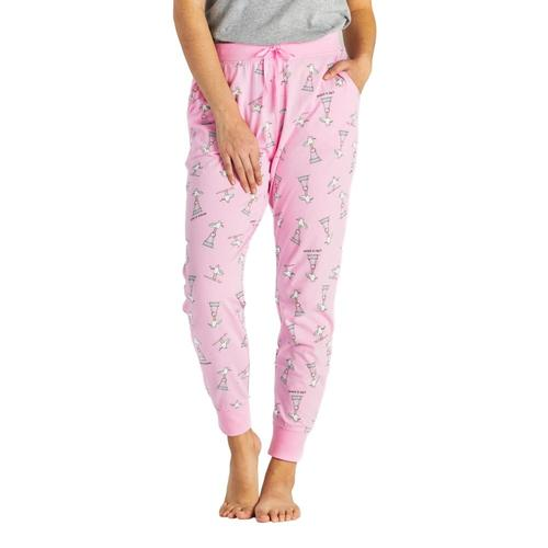 Life is Good Women's Gull Print Snuggle Up Sleep Joggers Pinkseagull