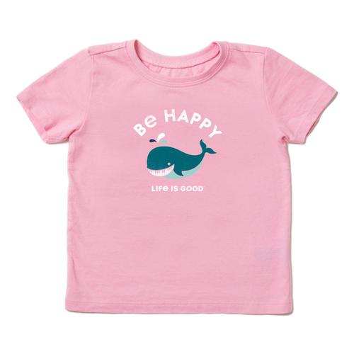 Life is Good Toddler Be Happy Whale Crusher Tee Happypink