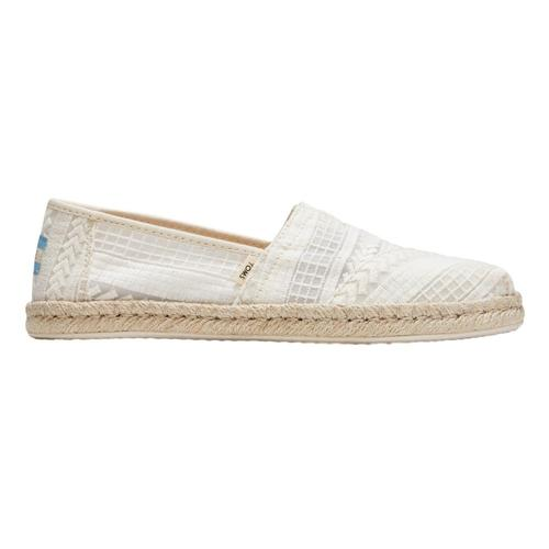 Toms Women's Natural Arrow Embroidered Mesh Rope Alpargatas Nat.Arw.Msh