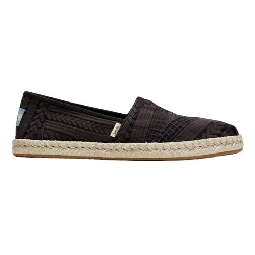 Toms Women's Black Arrow Embroidered Mesh Rope Alpargatas Blk.Arw.Msh