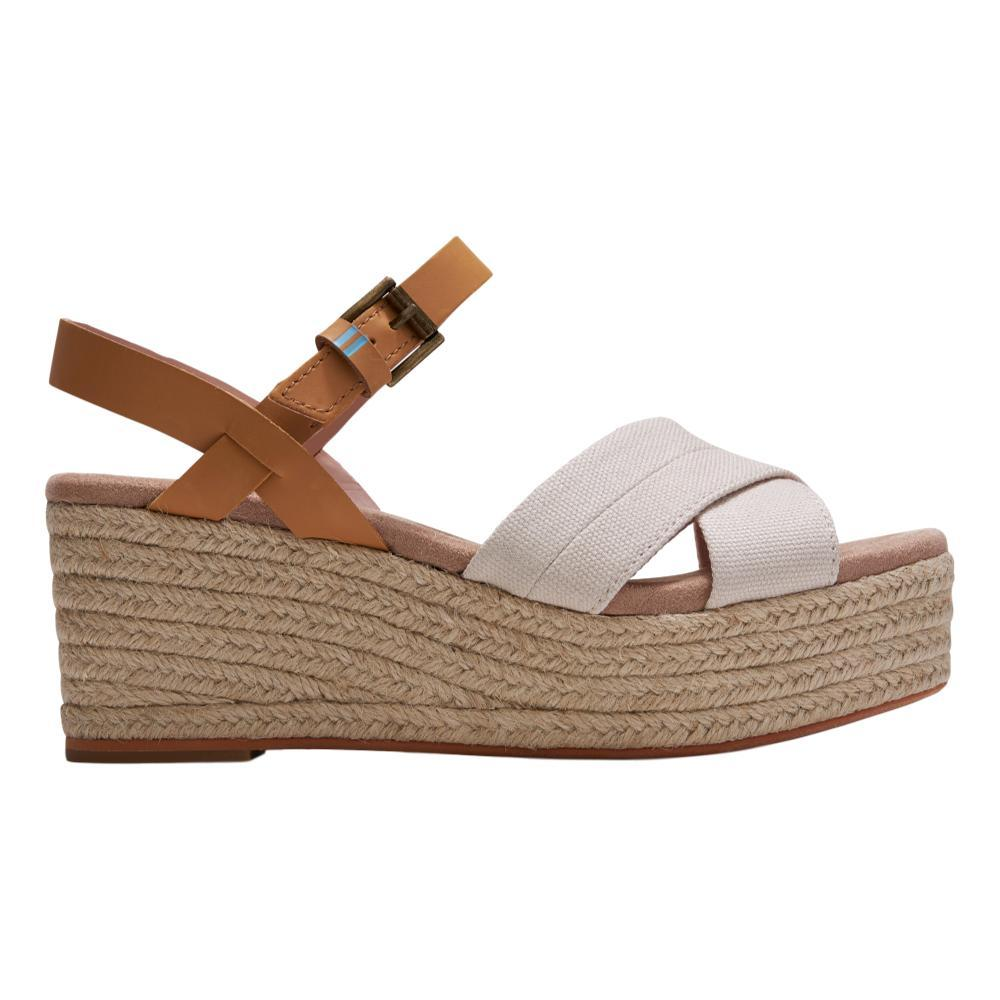 TOMS Women's Natural Shimmer Canvas Honey Leather Willow Wedges NCANV.HNLTH