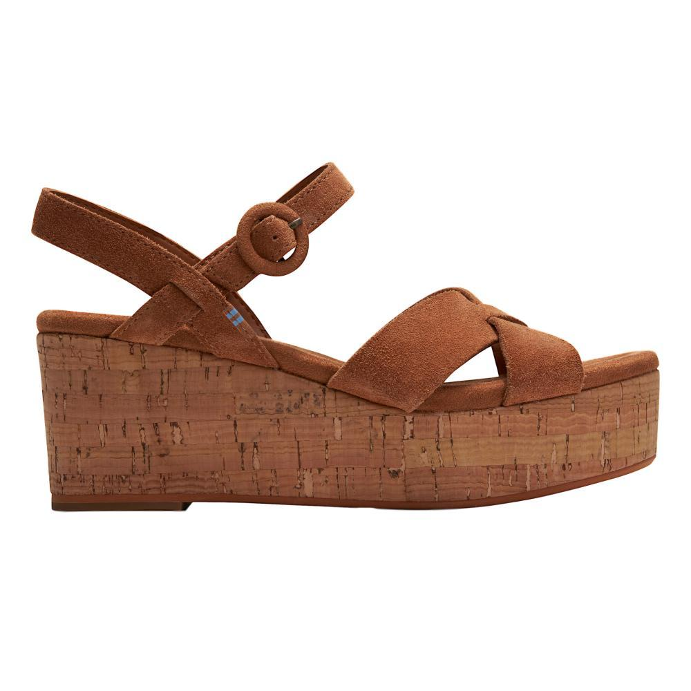 TOMS Women's Carmel Brown Suede Willow Wedges CARMBRN.SD