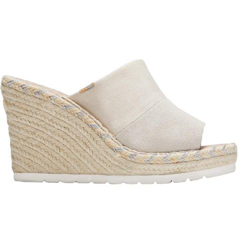TOMS Women's Natural Shimmer Canvas Suede Monica Mule Wedges Nshmcan.Sd