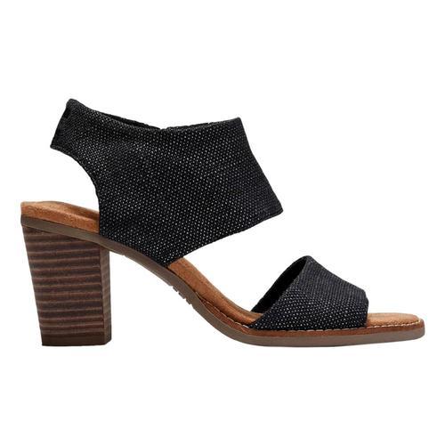 TOMS Women's Black Foil Woven Majorca Cutout Sandals Blk.Fl.Wov